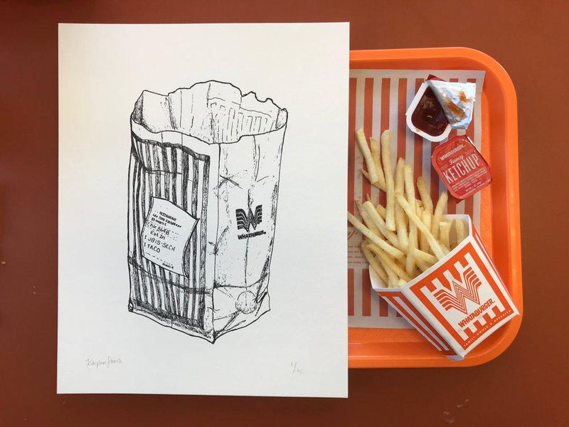 Whataburger Letterpress Print-Art-Kaylan Smith Illustration-Black-Forth and Nomad