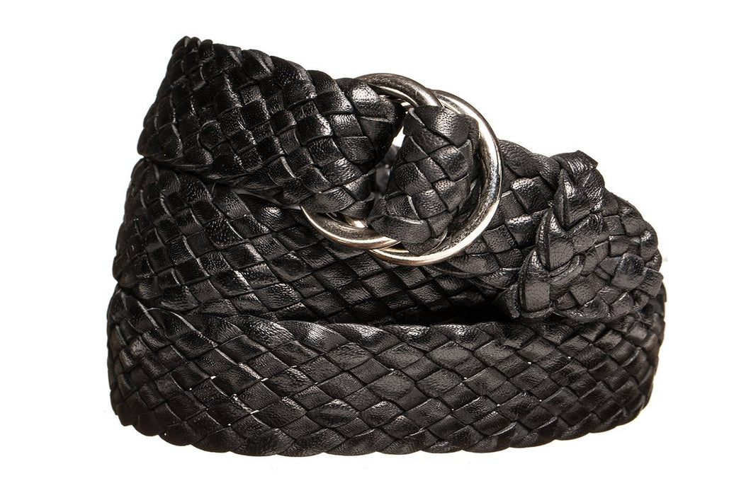 Leather Belt - 9 Strand - Black (thin) - The Kangaroo Belt Company
