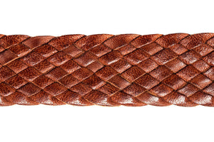 Braided Leather Belt - 9 Strand - Tan (thin) - The Kangaroo Belt Company Close up