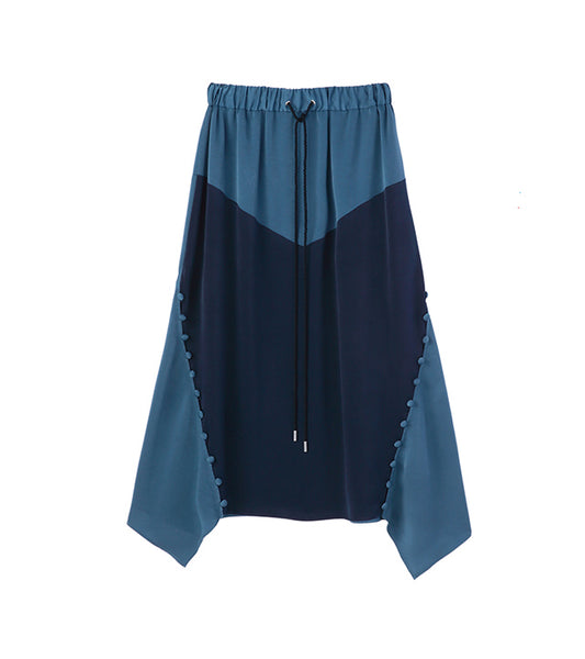 bi color satin skirt -blue