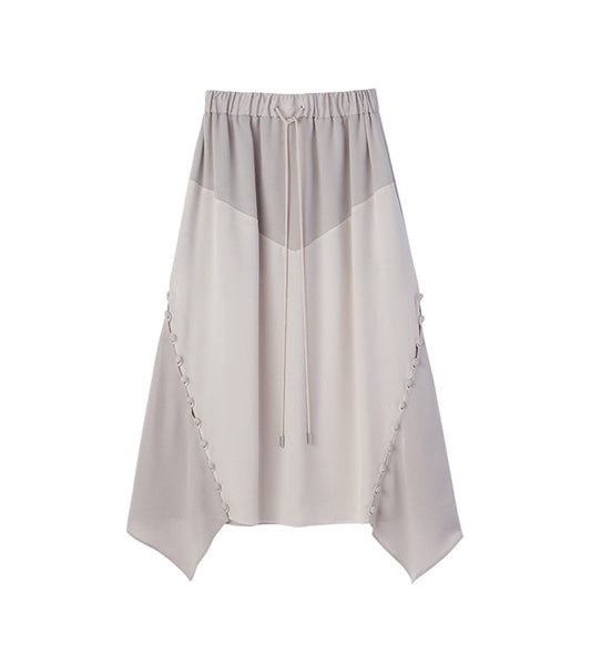 bi color satin skirt -beige