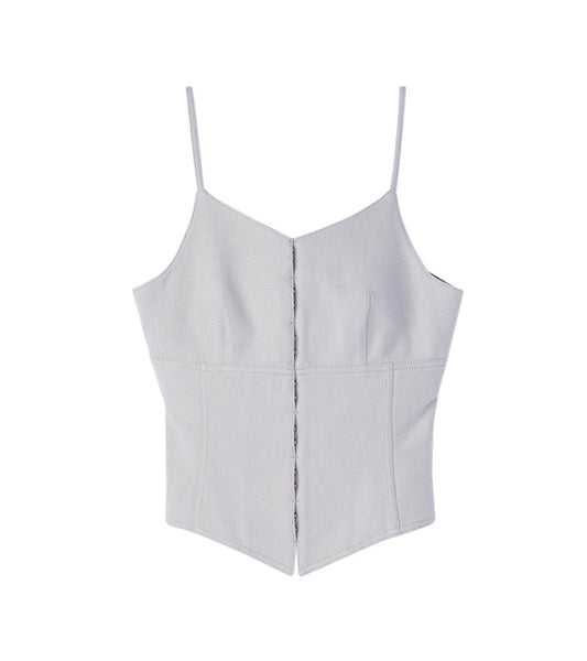 silk denim camisole - white