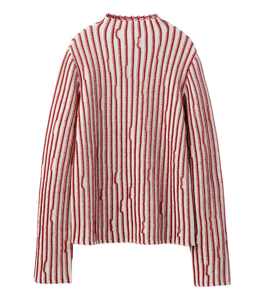 stripe knit tops - beige