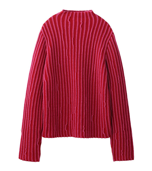 stripe knit tops - red