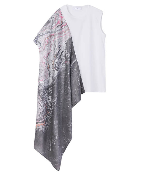 sleeveless tops with scarf - white