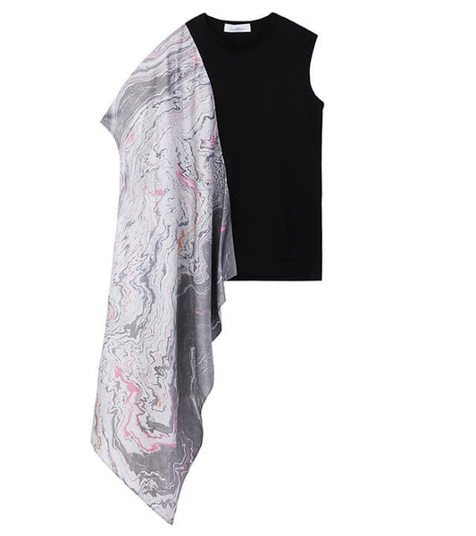 sleeveless tops with scarf - black