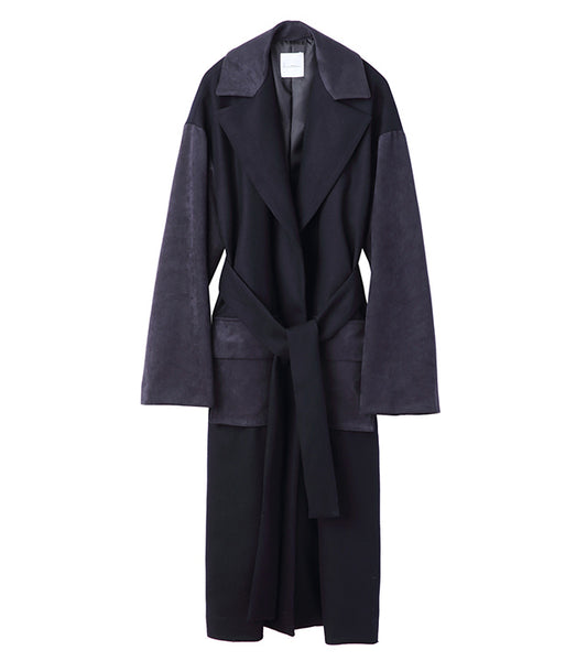 suede combi coat - navy