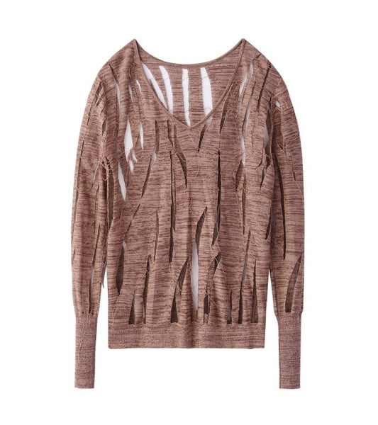knit tops L/S - brown