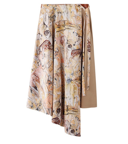 deer printed skirt - beige