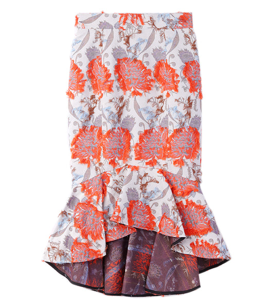 flower jacquard mermaid skirt - beige/orange