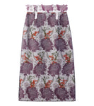 transparent flower jacquard skirt - beige/purple