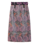 transparent flower jacquard skirt - black/purple