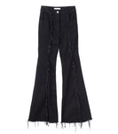 flared denim jeans - black