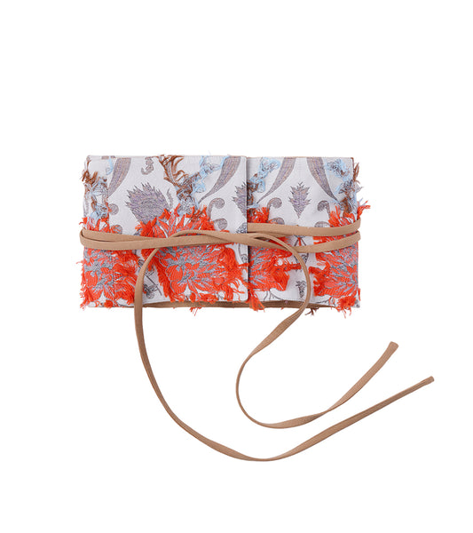 flower jacquard belt - beige/orange