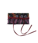 flower jacquard belt - black/purple