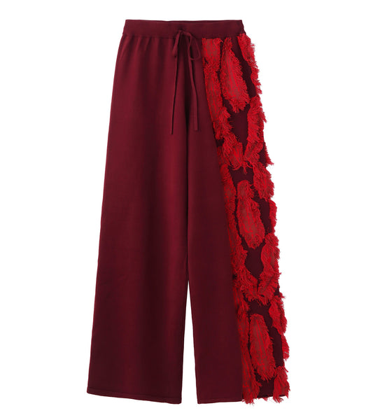 knit pants - red