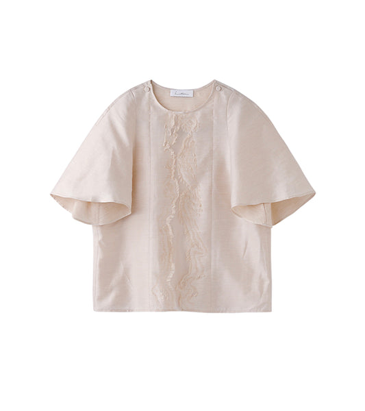 wood jacquard top - beige