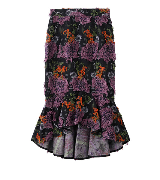 flower jacquard mermaid skirt - black/purple