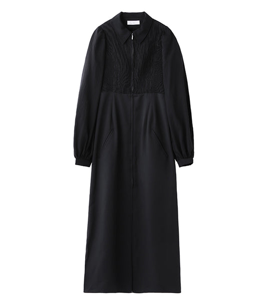 shirring coat - black