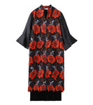 flower jacquard dress - black/orange
