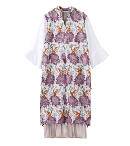 flower jacquard dress - beige/purple