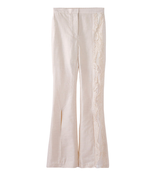 wood jaquard trousers - beige