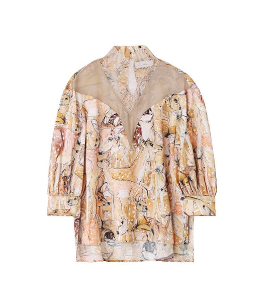 deer printedrace blouse - beige