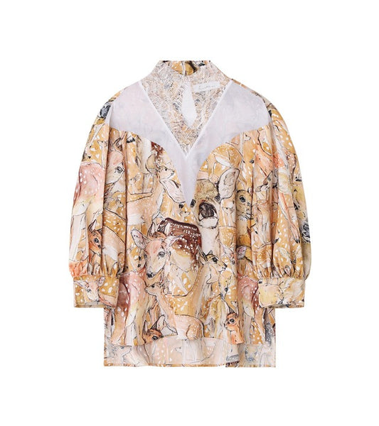 deer printedrace blouse - white