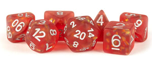 7 COUNT DICE POLY SET: RESIN ICY OPAL: RED WITH SILVER