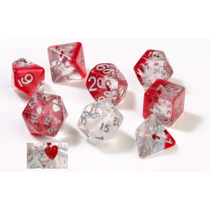 7CT SEMI-TRANSLUCENT POLY DICE SET - HEARTS