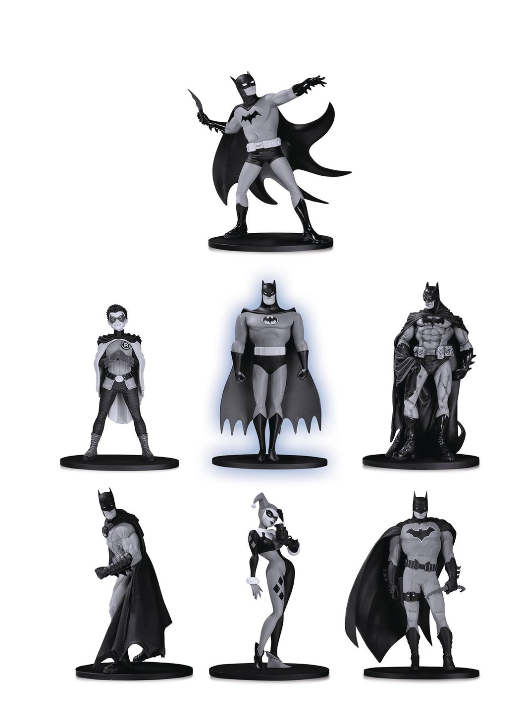 BATMAN BLACK & WHITE MINI PVC FIGURE 7 PACK SET 2
