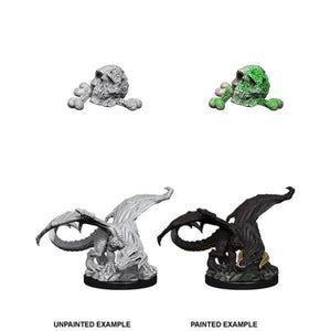 DUNGEONS AND DRAGONS: NOLZUR'S MARVELOUS UNPAINTED MINIATURES -W10-BLACK DRAGON WYRMLING