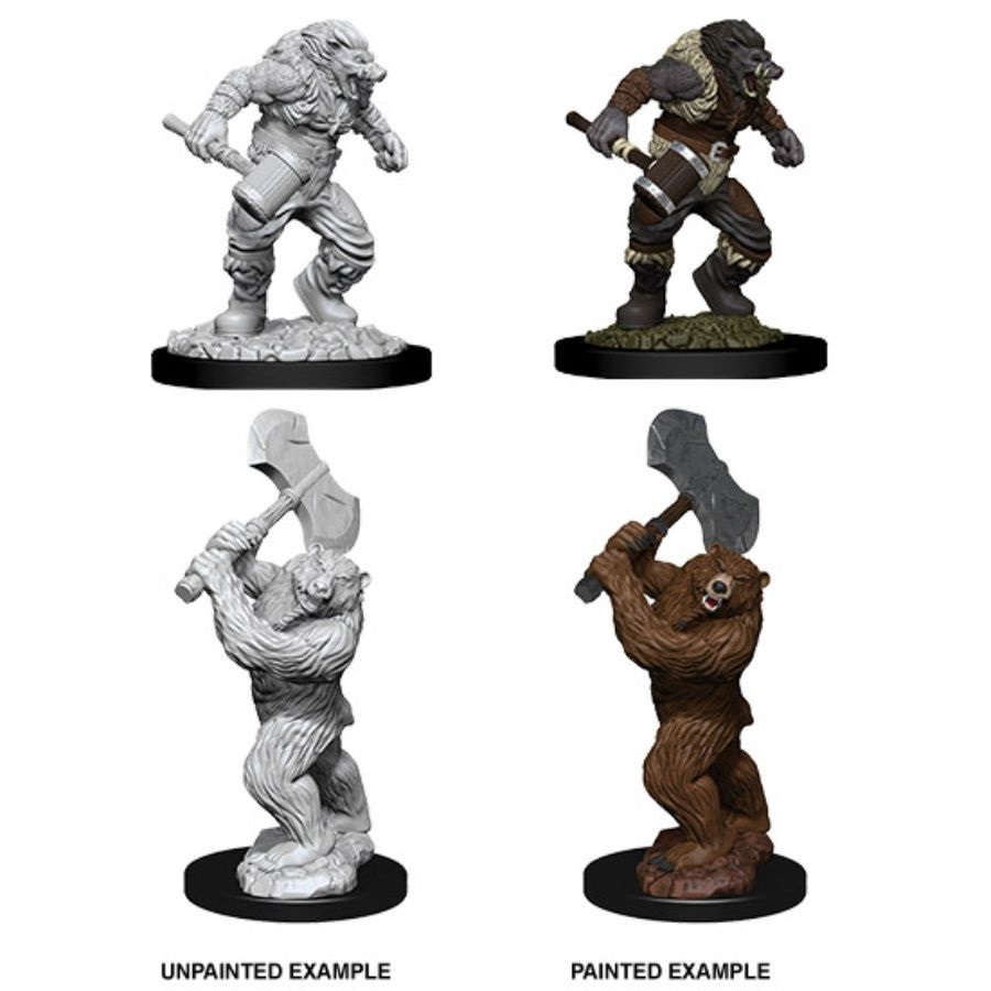 DUNGEONS AND DRAGONS: NOLZUR'S MARVELOUS UNPAINTED MINIATURES -W9-WEREBOAR AND WEREBEAR
