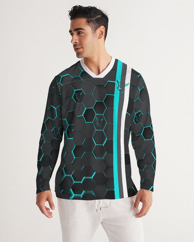 Silver Fox Blue Cyber Striped Long Sleeve Sports Jersey