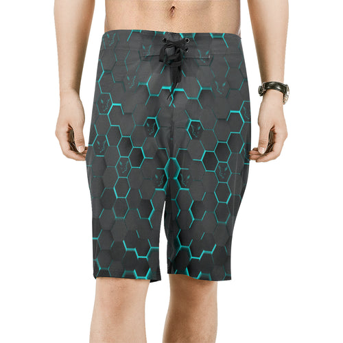 Silver Fox Blue Cyber Board Shorts