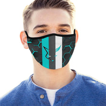 Load image into Gallery viewer, Silver Fox Blue Cyber Striped Face Mask (Set of 3)