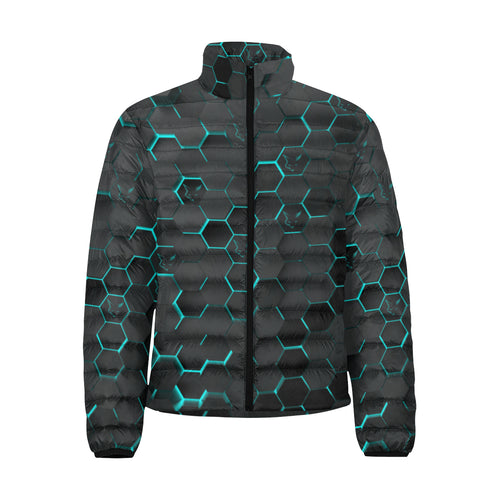 Silver Fox Blue Cyber Puffer Jacket