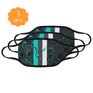 Silver Fox Blue Cyber Striped Face Mask (Set of 3)