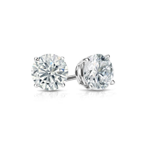 Stud Earrings, White Topaz  in 14K White Gold Plated 4mm