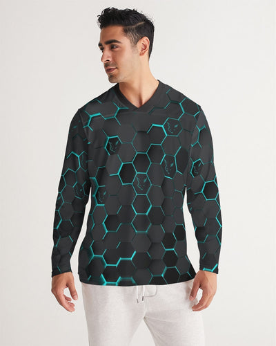 Silver Fox Blue Cyber Long Sleeve Sports Jersey