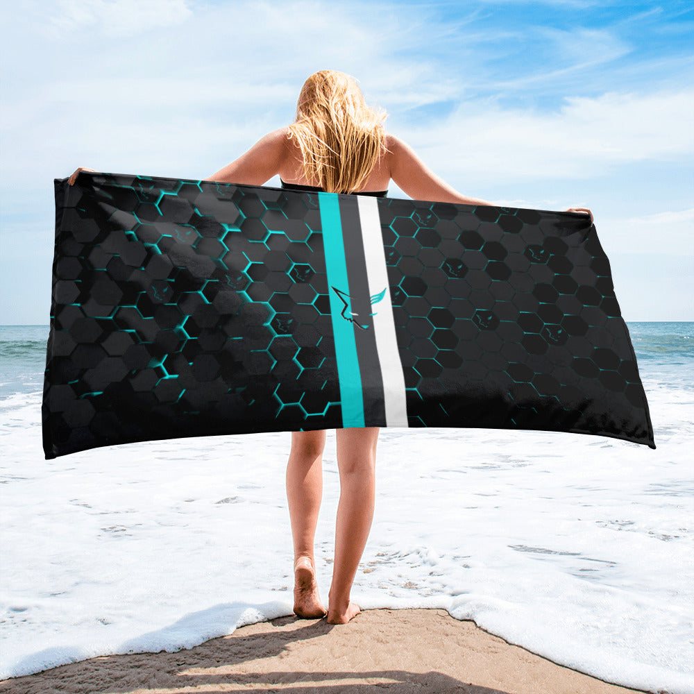 Silver Fox Luxury Blue Cyber Beach Towel