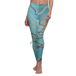 COSMIC Strings 2 Women's Cut & Sew Casual Leggings - Art by Zana