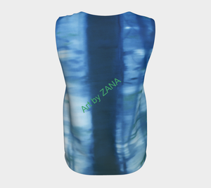 SHADES OF BLUE - Loose fitting Top - Art by Zana