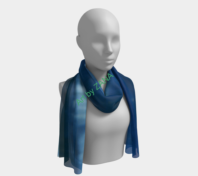 SHADES OF BLUE  Long Scarf - Art by Zana