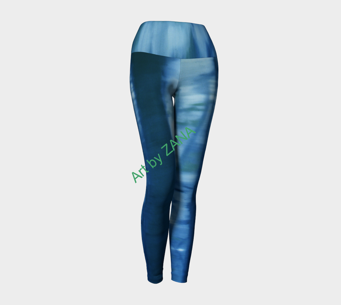 SHADES OF BLUE  Collection Yoga Pants - Art by Zana