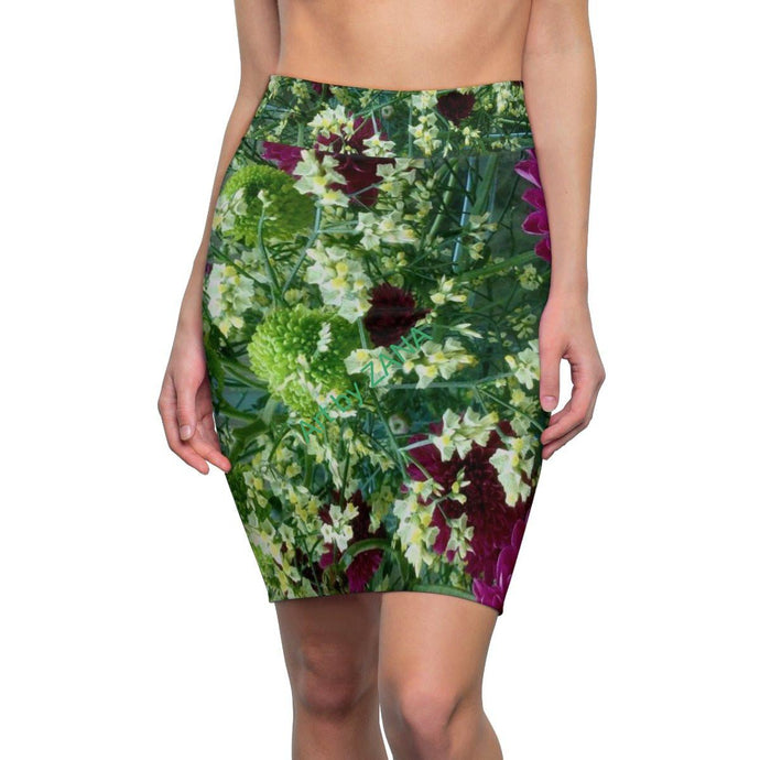 FRESH Floral Women's Pencil Skirt - Art by Zana