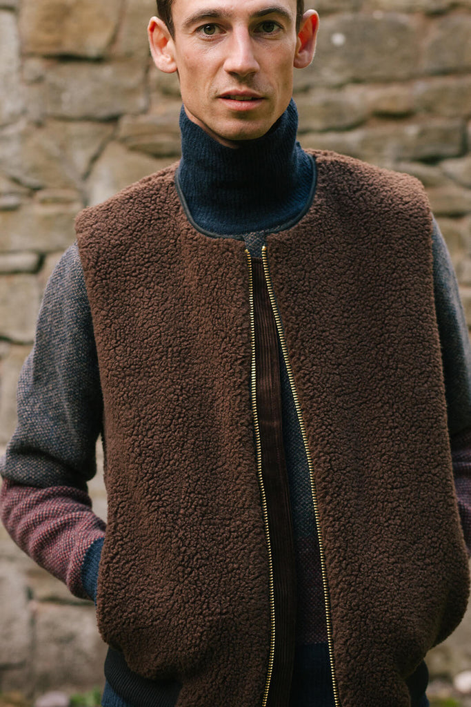 Winter knitwear by Oliver Spencer, including this thick wool gilet.