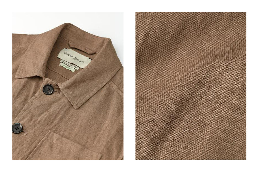 Cowboy chore jacket in Evering taupe by Oliver Spencer
