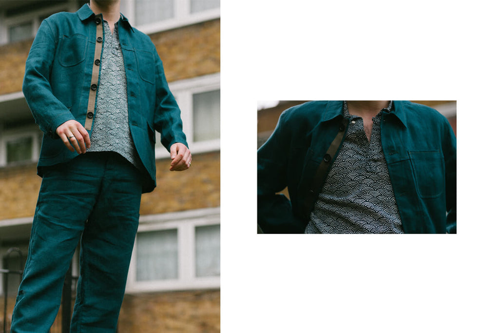 Teal Cowboy jacket and trousers by Oliver Spencer.