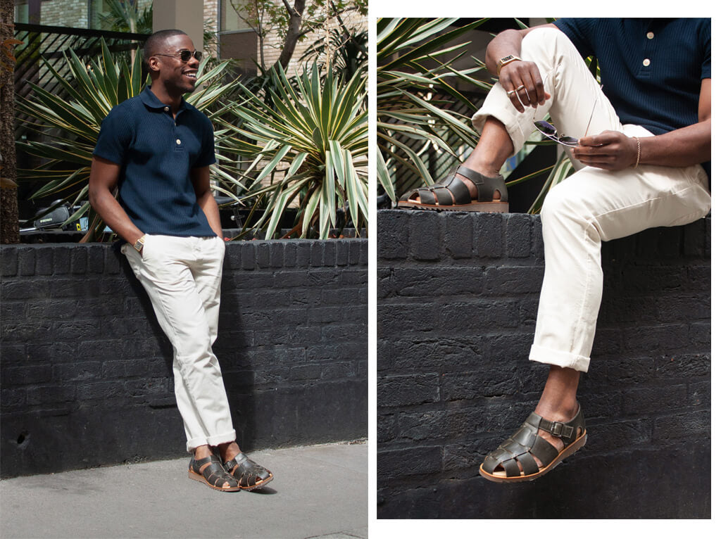 DEL WEARING TABLEY POLO SHIRT PAVIS NAVY, DRAWSTRING TROUSERS KILDALE CREAM, PARABOOT PACIFIC OLIVE GREEN LEATHER